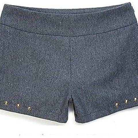 ZY/ Di INNA Donna Gray Tweed Pile Rivet Pantaloni corti , gray-l , gray-l