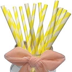 Amarillo diseño de rayas pajitas de papel para bebé y cumpleaños, 100pcs luz rayas pajitas de papel