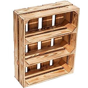 Gewürzregal aus Holz geflammt stehend oder hängend Flache Obstkisten Wilma mit Zwei Ebenen ca 50cm x40cm x16cm/ Regalkiste Holzkiste/Weinkisten Wanddeko Vintage Kiste Wandregal CD-Regal