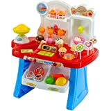 Hobnot Luxury Supermarket Shop - Blue, Candy Sweet Shopping Cart, Ice Cream Supermarket Role Playset Toy For Kids