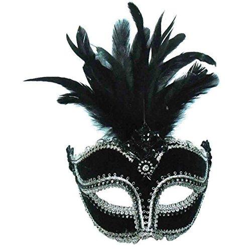 Venezianische Maske Venedig Vogel Federmaske Ballmaske Augenmaske Domino Schwarz mit Silbernen Borten und schwarzen Federn - ELEGANT