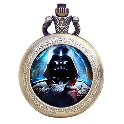 Vader Antik Bronze Effekt Retro/Vintage Case Herren Quarz-Taschenuhr Halskette-auf 81,3cm Zoll/80cm Kette ()