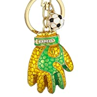 TOOGOO Personalized Football Gloves Key Chain Metal Keychain Women Bag Charms Car Key Ring Key Holder Football Gift Gold + Green