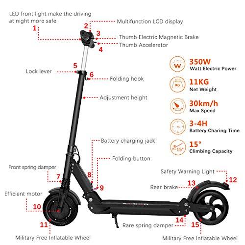 350W High Power Elektro-Scooter, Ausreiten höhenverstellbar, leicht Faltbare mit 30KM Long Range, 36V-Akku Stoß-Roller, Höchstgeschwindigkeit 35 km/h, elektrische Bremse für Erwachsene und Kinder