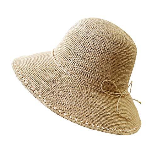 Fengkuo Dame Xia Tai Eaves Beach Hat/Anti-UV-Schattierung/faltbar/vollständig handgefertigt/atmungsaktiv Yellow Head Umfang 54-58cm Mode Persönlichkeit