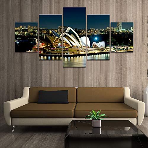 mmwin Wohnkultur Poster Bilder Drucke Leinwand 5 Stück Modulare Nacht Sydney Opera House Landschaft Wohnzimmer Dekorative d