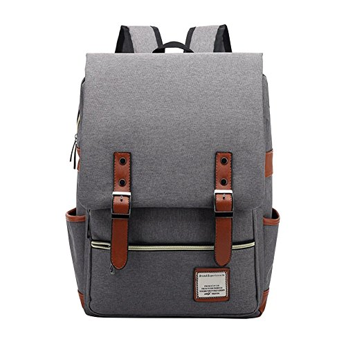 VRIKOO Casual Oxford Fabric Unisex Backpack Rucksack Lightweight College Student Laptop Bag Travel Hiking Daypack Bags (Light Grey) Casual Womens Oxford