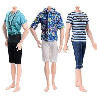 Asiv Modische 3 Kurze Ärmel und 3 Hosen Freizeitkleidung für Ken Barbie Puppen, Geburtstag Party Geschenk