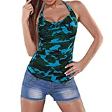 TEBAISE Sommer Frauen Outdoor Sport Active Wear Camouflage Druck Beiläufiges Sleeveless Tops Oansatz T-Shirt Bluse Alltagskleidung(Blau,EU-46/CN-XL)