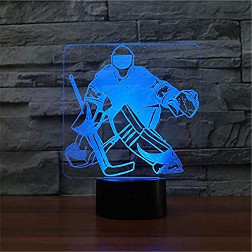 WJPDELP-YEDE 3D Eishockey Torwart Modellierung Tischlampe 7 Farben Ändern LED Nachtlicht USB Zimmer Schlaf Beleuchtung Fans Sport Geschenke Dekoration
