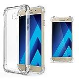 Moozy Transparent Silikon Hülle für Samsung A5 2017 - Stoßfest Klar TPU Case Handyhülle Schutzhülle