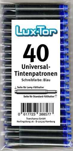Luxtor - 40St.Universal Tintenpatronen für Lamy Herlitz Pelikan Reform Online / blau