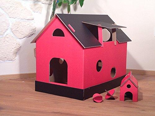 Socket de nuestra casa gato con techo de cuerpo roja y negra y convence por su amplitud. Nueva ejecución con adicional mäusehäus Chen en rojo tamaño: 585x 390x 515mm (L x B x altura gablete). techo y suelo son extraíbles, además es el suelo en Z. ...
