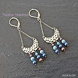 Boucles d'oreilles minimaliste bohême chic chandelier, perle Swarovski Elements nacrées tons bleus et marron, idée cadeau