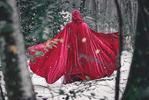 (Rotkäppchen Mittelalterlicher Kapuzenumhang mit runder Strecken Samt Cape Kostüm Fairytale)
