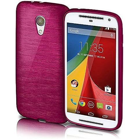 Funda protectora OneFlow para funda Motorola Moto G (2.Generation) Carcasa silicona TPU 1,5mm | Accesorios cubierta protección móvil | Funda móvil paragolpes bolso cepillado aluminio diseño en Purpure-Purple