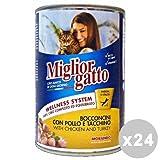Set 24 MIGLIOR GATTO 405 Gr. Umido Bocconcini Pollo-Tacchino Cibo per gatti