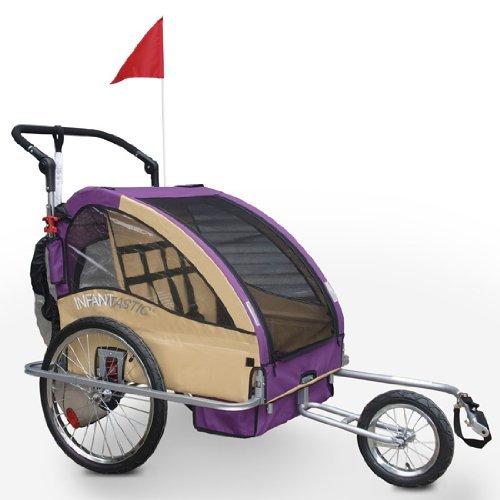 2 in 1 Jogger und Fahrradanhänger für bis zu 2 Kinder klappbar und gefedert (Farbwahl)
