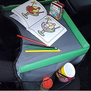 KDS Kindersitz-Reisetisch Kinder Spiel und Esstisch Knietablett Kinder Reisetisch Kindersitz Autotisch PKW Spieltisch mit Netztaschen für Kindersitz schwarz grau grün Neu