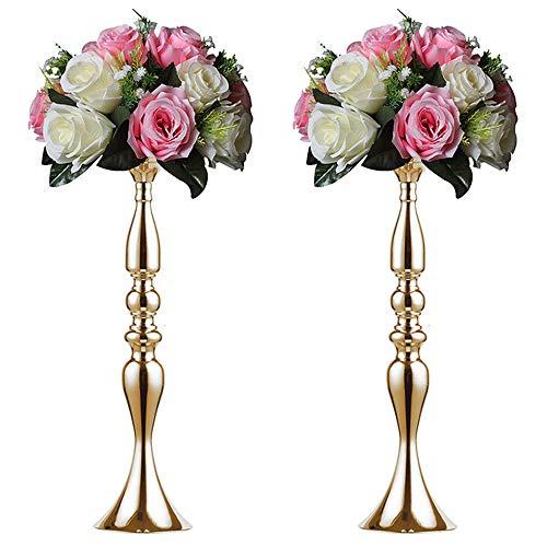 2 prodotti di ferro battuto con sostegno alto allo stile europeo moderno semplice, colonna cremagliera mensola supporto fiori nozze, decorazione casa creativa, oro
