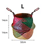Samber folk tradizionale Full hand-knitting alghe naturale tessuta cesto per la spesa pianta vaso di fiori fatto a mano pieghevole portabiancheria organizzatore mobili per la casa, Colorful, large