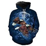 LianMaoyi Eagle Print Blue Hooded Pullover Sportwear YI2051 5XL