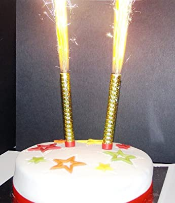 ICE FOUNTAIN CANDLES GOLD WITH GOLD FLAME (2 per pack) by Every-Occasion-Party-Supplies