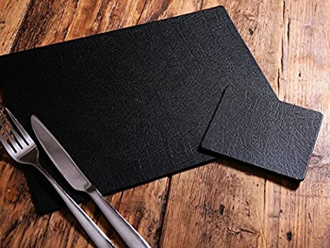 Set of 8 Classic Black Leatherboard Placemats and 8 Coasters, UK Made