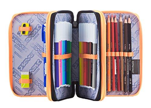 ESTUCHE escolar 3 pisos – SEVEN – THUNDER – Multi compartimentos con lápiz, rotuladores, boligrafos… naranja verde