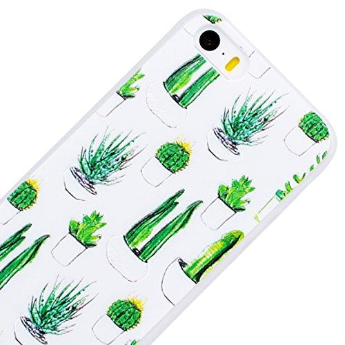 WE LOVE CASE iPhone 5S / 5 / SE Hülle 3D Scheuern Entlastung Kaktus iPhone 5S / 5 / SE Hülle Silikon Weich Grün Handyhülle Tasche für Mädchen Elegant Backcover , Soft TPU Flexibel Case Handycover Stoß cactus