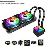 upHere Leistungsstarker CPU-Wasserkühler mit 2 * 120mm RGB LED PWM Lüfter(AM4 Kompatibel)-Unterstützt ASUS Aura Sync/GIGABYTE RGB Fusion/MSI Mystic Light Sync/AsRock Polychrome Sync-CC240RGB