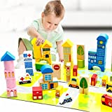 Educational Toy Wooden Puzzle 62 PCS City Orbit Submergence Highway Track Truck Best Birthday Gift For Children Colorful Puzzle Toy Building Block Educational Toy Construction Rail Set