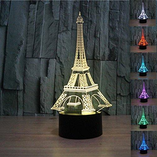 Lampe 3D Illusion, SUAVER 7 changement de couleur 3D Acrylique Éclairage Tactile Lampe de Table pour Atmosphère Décoration (Tour Eiffel)
