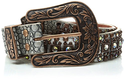 Nocona Belt Co. Damen Nocona Silver Croc Copper Square Stud Belt Gürtel, Silber, Klein Stud Belt