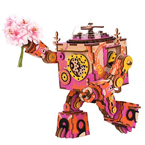 L@LILI Holz-Uhrwerk Illuminate Music Box,3D Puzzle Assembly Robot Creative