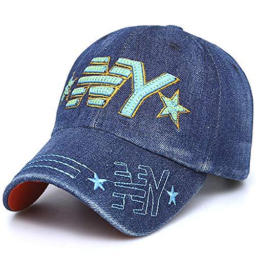 qqyz Stickerei Cowboy Kids Baseball Caps Jungen Und Mädchen Grundschüler Frühling Und Sommer Outdoor Schattierung Kappe verstellbar blau