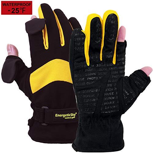 Songwin Wasserdichte Winterhandschuhe,3M Thinsulate Ski & Snowboard Handschuhe für Herren und Damen,Touchscreen-Handschuhe zum Angeln,Fotografieren,Jagen im Freien.(Gelb & Schwarz, XXL)