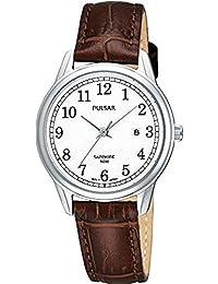 Pulsar Uhren Klassik PH7187X1 - Reloj analógico de cuarzo para mujer, correa de cuero color marrón