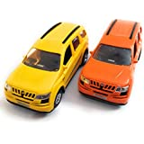 Combo Of Two Mahindra XUV 500 Car Toys |Toys For Kids/Show Piece | Mahindra XUV Miniature/Model Car Toys |Pull Back And Go | Openable Doors | Yellow And Orange Color, Set Of 2 Cars