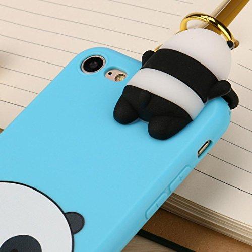 Cover per iPhone 7, Tpulling Custodia per iPhone 7 Case Cover Gli animali neri svegli del fumetto dellanimale 3D coprono la cassa molle del silicone per IPhone 7 4.7 pollici (Blue) Blue