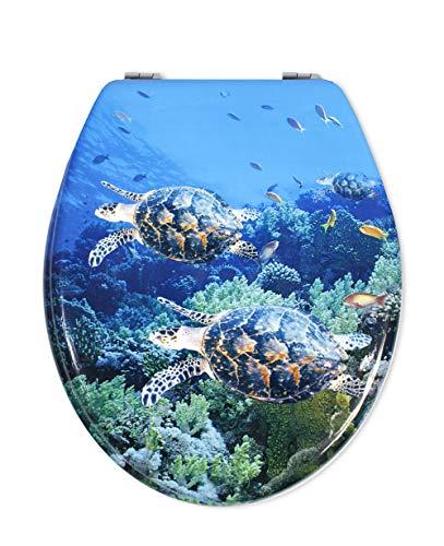 Vetrineinrete® copriwater universale in legno mdf serigrafato tavoletta da bagno wc con stampa cerniere in acciaio inox resistente 52981 (tartarughe) a88