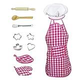 Class-Z Gioco d' Imitazione Cucina, 11pcs Chef Gioco di Ruolo con Costume Vestire e Accessori da Cucina per Bambini Reticolo Stile