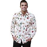 Herren Hemd T-Shirt Herbst Winter Weihnachten Drucken Top Langarm Bluse Von Xinan (M, Weiß)
