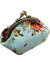 Qisc Cute Wallet, Ladies Women Change Purse Retro Vintage Flower Small Wallet Hasp Purse Clutch Bag
