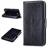 Sony Xperia M2 / M2 Case Leather, Ecoway Maple leaf embossing PU Leather Stand Function Protective Cases Covers with Card Slot Holder Wallet Book Design Detachable Hand Strap for Sony Xperia M2 / M2 - black