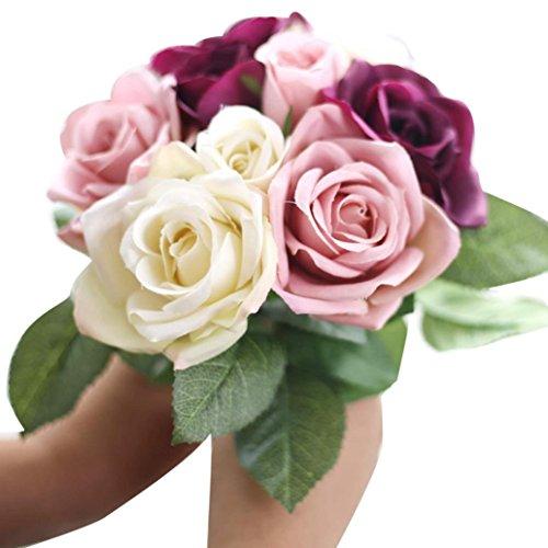 1 x 9 Blumen-Köpfe Künstlich Blumen FORH Elegant Künstliche Rose Seiden Blumen Home Garden kunst Deko Blumen Bunte Decor Plastikblumen Deko Pflanzen für DIY Hochzeit Party (Beige)