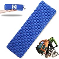 Ultralight Air Sleeping Pad – Inflatable Camping Mat for Backpacking, Traveling and Hiking Air Cells Design for Better Stability & Support (Inflatable Mat, Navy)
