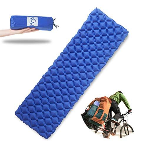 SCM Camping Matratze Luftmatratze Isomatte Outdoor Trekking Zelt Leicht & Kleines Packmaß Sleeping Pad Matte Blau (Schlafsack Pad)