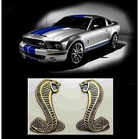 Texto Emblema carrocería Ford Mustang Shelby gt Cobra Snake Oro par