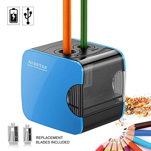 AOBETAK Elektrischer Anspitzer mit Behälter,USB und Batterie Betrieben Bleistiftspitzer,Spitzer Elektrisch 2 Größen für Dreikantstifte und Buntstifte